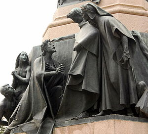 Purgatorio - Dante and Virgil meet Sordello, in a sculpture by Cesare Zocchi, Canto VII.