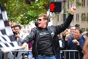 David Hasselhoff - David Hasselhoff waving the checkered flag at the 2008 Gumball 3000