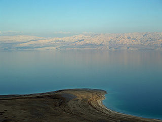 Dead Sea salt lake bordering Jordan and Israel