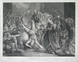 Anker Smith - Sir William Walworth, Lord Mayor of London, Killing Wat Tyler in Smithfield, 1381, engraving by Anker Smith published 1796