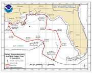21 June 2010 National Oceanic and Atmospheric Administration map of the Gulf of Mexico showing the areas closed to fishing.