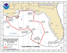21 June 2010 NOAA map of the Gulf of Mexico showing the areas closed to fishing.