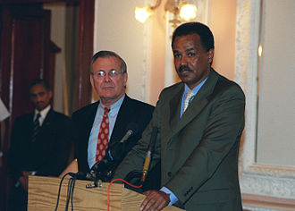 President Isaias Afewerki with U.S. Secretary of Defense Donald Rumsfeld, December 2002 Defense.gov News Photo 021210-D-2987S-057.jpg