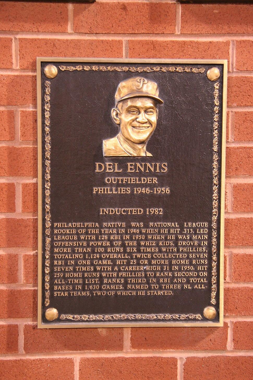 Del Ennis plaque