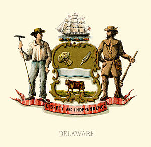 Seal of Delaware - Historical coat of arms (illustrated, 1876)