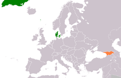 Map indicating locations of Denmark and Georgia