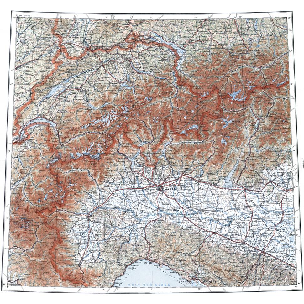 Deutsche Militärkarte Schweiz-Norditalien
