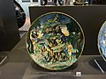 Dish with a hare-coursing scene, painted maiolica by Nicola da Urbino, c1525.JPG