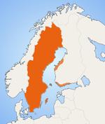 خريطة المناطق التي يَقطنها عدد ملحوظ من متحدثي السويدية في إسكندنافيا
