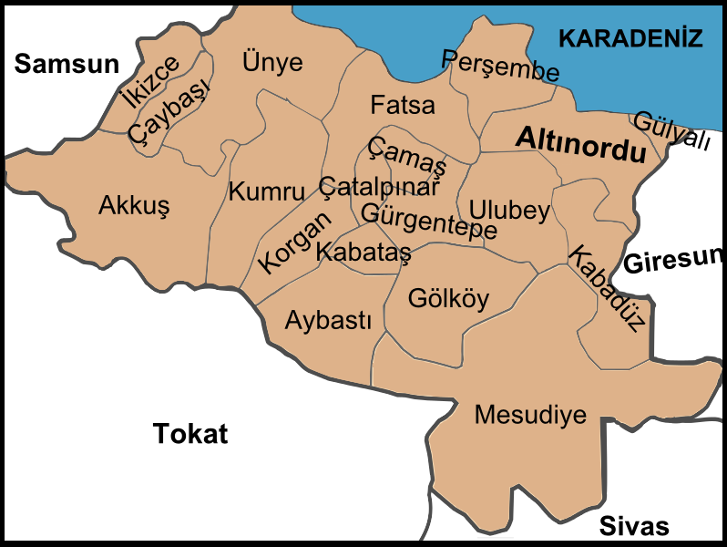 Districts of Ordu