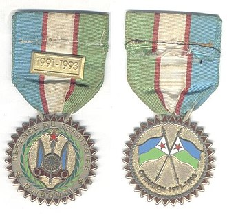 Djibouti Armed Forces - The Homeland Defense Medal was awarded to Djiboutian forces for duties related to the Djiboutian Civil War raids between 1991 and 1993.