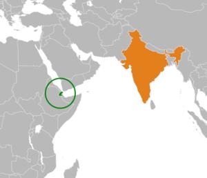 Djibouti–India relations - Image: Djibouti India Locator