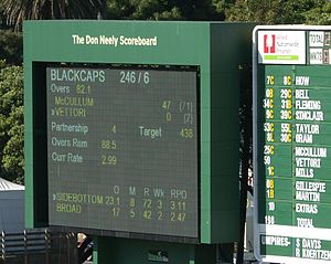 Don Neely - The main scoreboard at the Basin Reserve Wellington is named after Don Neely
