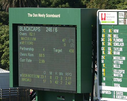 The main scoreboard at the Basin Reserve Wellington is named after Don Neely Don Neely.JPG
