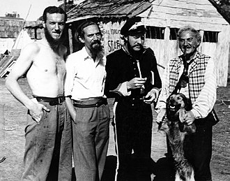 Donn Reynolds - With Peter Finch, Grant Taylor, and Sid Hermann on film set of Eureka Stockade (1948).