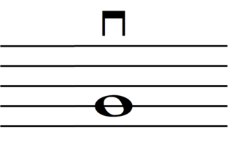 Down bow - A representation of a down-bow mark on a staff
