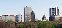 Downtown Fort Wayne, Indiana Skyline from Old Fort, May 2014.jpg