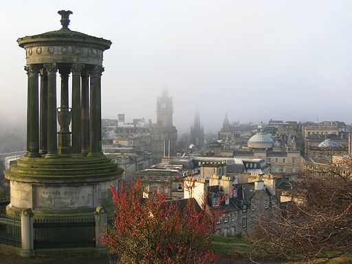Dugald Stewart Monument and view of Edinburgh