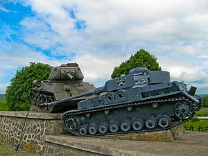 Battle of the Dukla Pass - One of memorials of the Dukla Pass battle of 1944. This one commemorates a major tank battle in the Valley of Death