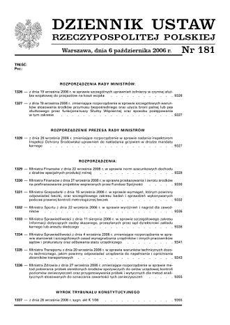 Dziennik Ustaw - Front page of Dziennik Ustaw (2006).
