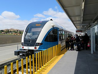 Pittsburg/Bay Point station - An eBART train at the transfer platform