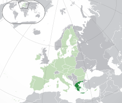 Ibùdó ilẹ̀  Gríìsì  (green)– on the European continent  (light green & grey)– in the European Union  (light green)  —  [Legend]