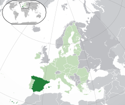 Location of  Spain  (dark green)– in Europe  (green & dark grey)– in the European Union  (green)  —  [Legend]