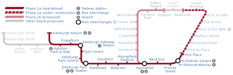 A map of the planned tramway.