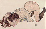 Egon Schiele - Kneeling Girl, Resting on Both Elbows - Google Art Project.jpg