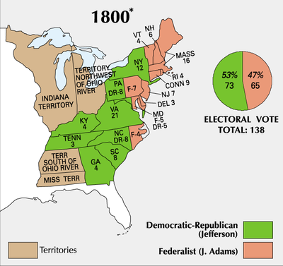 the election of 1800 in the united states 16-in the united states presidential election of 1800, sometimes referred to as the revolution of 1800, vice president thomas jefferson defeated in-cumbent president john adams the election was a realigning election that ushered in a generation of republican party rule and the eventual demise of the federalist party in the first party system.