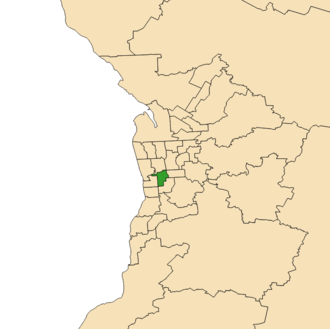 Electoral district of Badcoe - 2018 boundaries shown in green on Adelaide area map