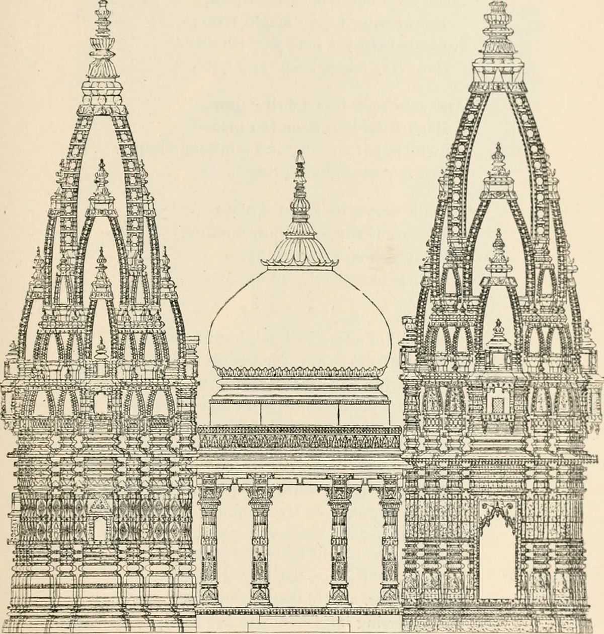 Elevation of Kashi Vishwanath Temple 1891.jpg