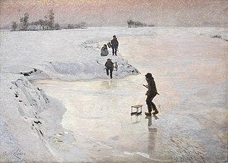Luminism (Impressionism) - Image: Emile Claus (1849 1924) De ijsvogels (1891) MSK Gent 22 10 2017 11 50 59