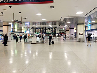 2015 Philadelphia train derailment - The virtually empty Amtrak waiting area of New York Penn Station on May 14 as dozens of trains were cancelled between Philadelphia and New York