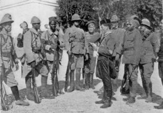 Macedonian Front - From left to right: a soldier from Indochina, a Frenchman, a Senegalese, an Englishman, a Russian, an Italian, a Serb, a Greek, and an Indian.