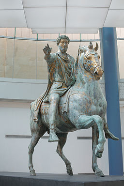 Equestrian statue of Marcus Aurelius full view front left