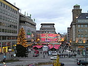 Christmas market in Essen, sight from Essen Hauptbahnhof