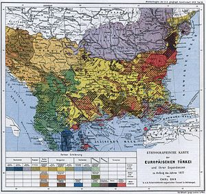Pomaks - Ethnographic map of European Turkey from the late 19th century, showing the regions largely populated by Pomaks in brown.