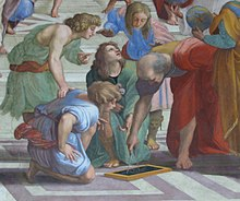 Euclid, Greek mathematician, 3rd century BC, as imagined by Raphael in this  detail from The School of Athens.