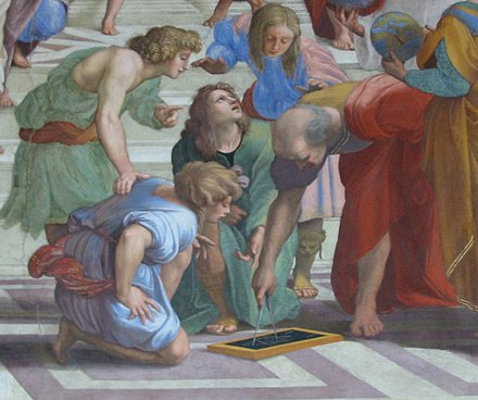 Greek mathematician Euclid (holding calipers), 3rd century BC, as imagined by Raphael in this detail from The School of Athens (1509-1511) Euclid.jpg