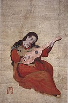Woman playing viol
