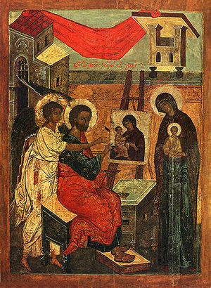 Saint Luke painting the Virgin - 16th-century Russian version showing copy of the Theotokos of Vladimir.