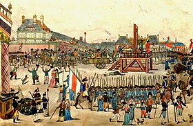 The execution of Robespierre. Crowds of people are gathered and a guillotine is in the center of the square.