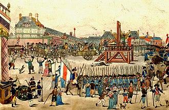 Exécution de Robespierre et de ses complices conspirateurs contre la liberté et légalité  vive la Convention nationale qui par son énergie et surveillance