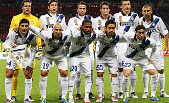 Diego Milito - Milito (with number 22) and his team-mates before a Champions League match against PFC CSKA Moscow on 27 September 2011