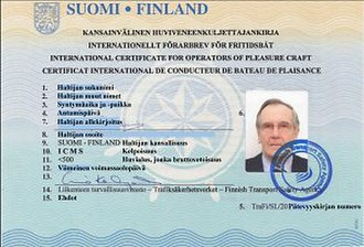 International Certificate of Competence - Specimen of an International Certificate for Operators of Pleasure Craft issued in Finland by Finnish Transport Safety Agency TraFi in accordance with Resolution No. 40 of the UN/ECE Working Party on Inland Water Transport.