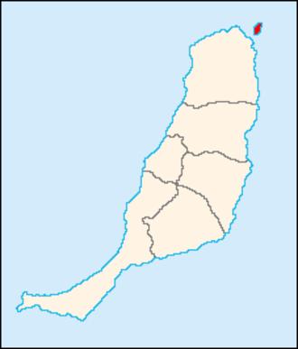 Lobos Island - Map of Fuerteventura showing Lobos