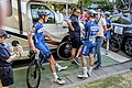 Fabio Jacobsen talks to manager Wilfred Peeters as Tim Declercq looks on (48068798132).jpg