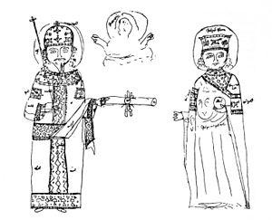 Jakob Philipp Fallmerayer - Fallmerayer's sketch (1841) of the founding document of the Dionysiou monastery, Mount Athos, with portraits of Emperor Alexios III of Trebizond and Empress Theodora.