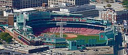 Fenway Park, home of the Boston Red Sox, is located in the Fenway–Kenmore neighborhood.